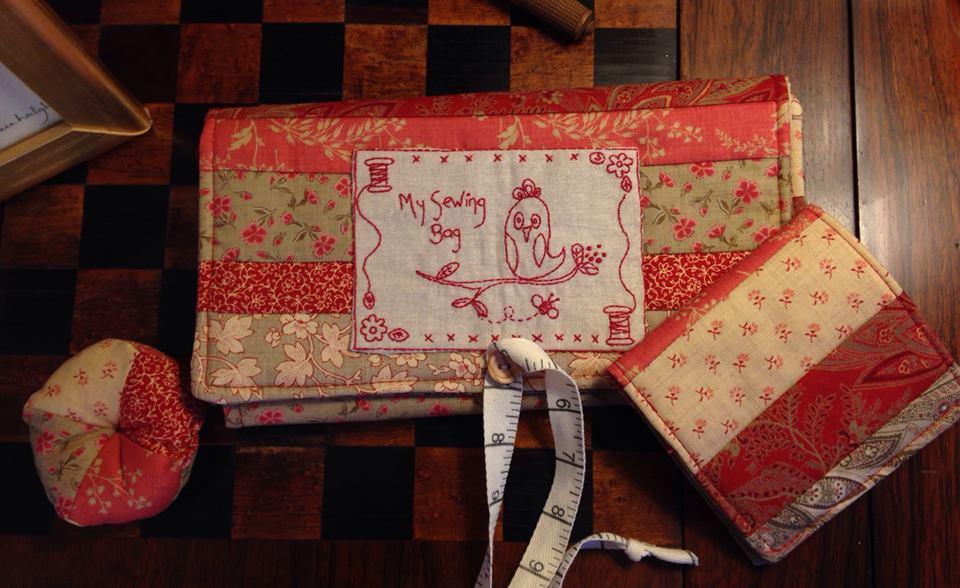 Cross patch redwork stitching satchel