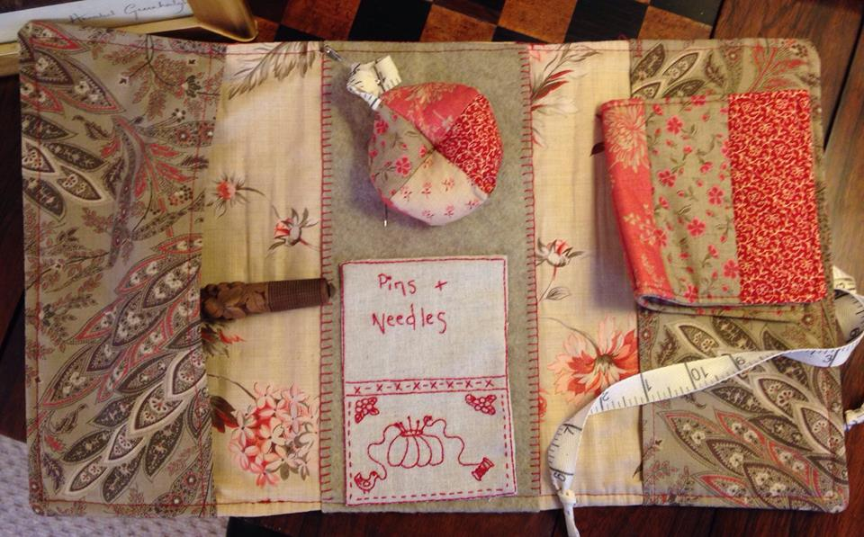 Crosspatch stitching satchel inside