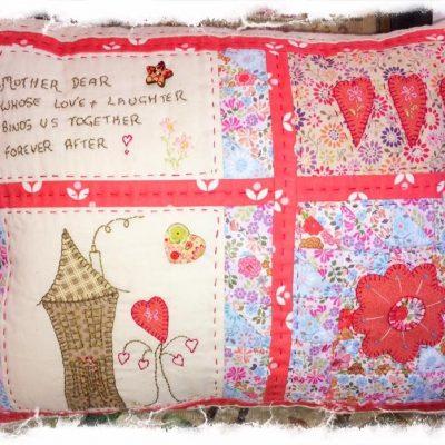 Mother Dear cushion cross patch