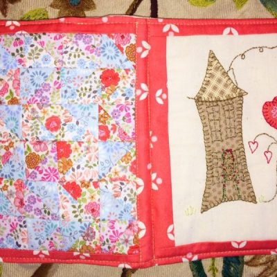 Country cottage needlebook crosspatch