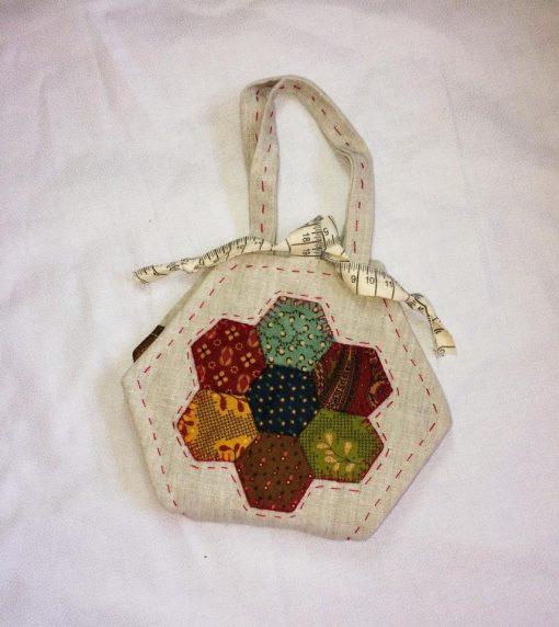 Hexagon needlebook crosspatch