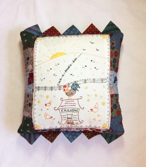 Country chickens pillow crosspatch