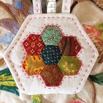 Hexagon needlebook cross patch
