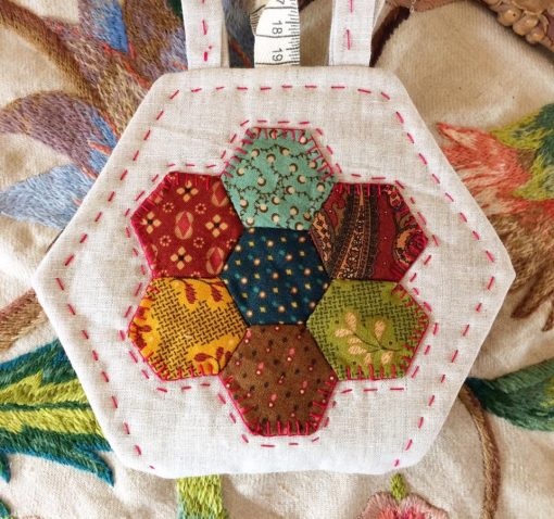 Hexagon needlebook cross patch